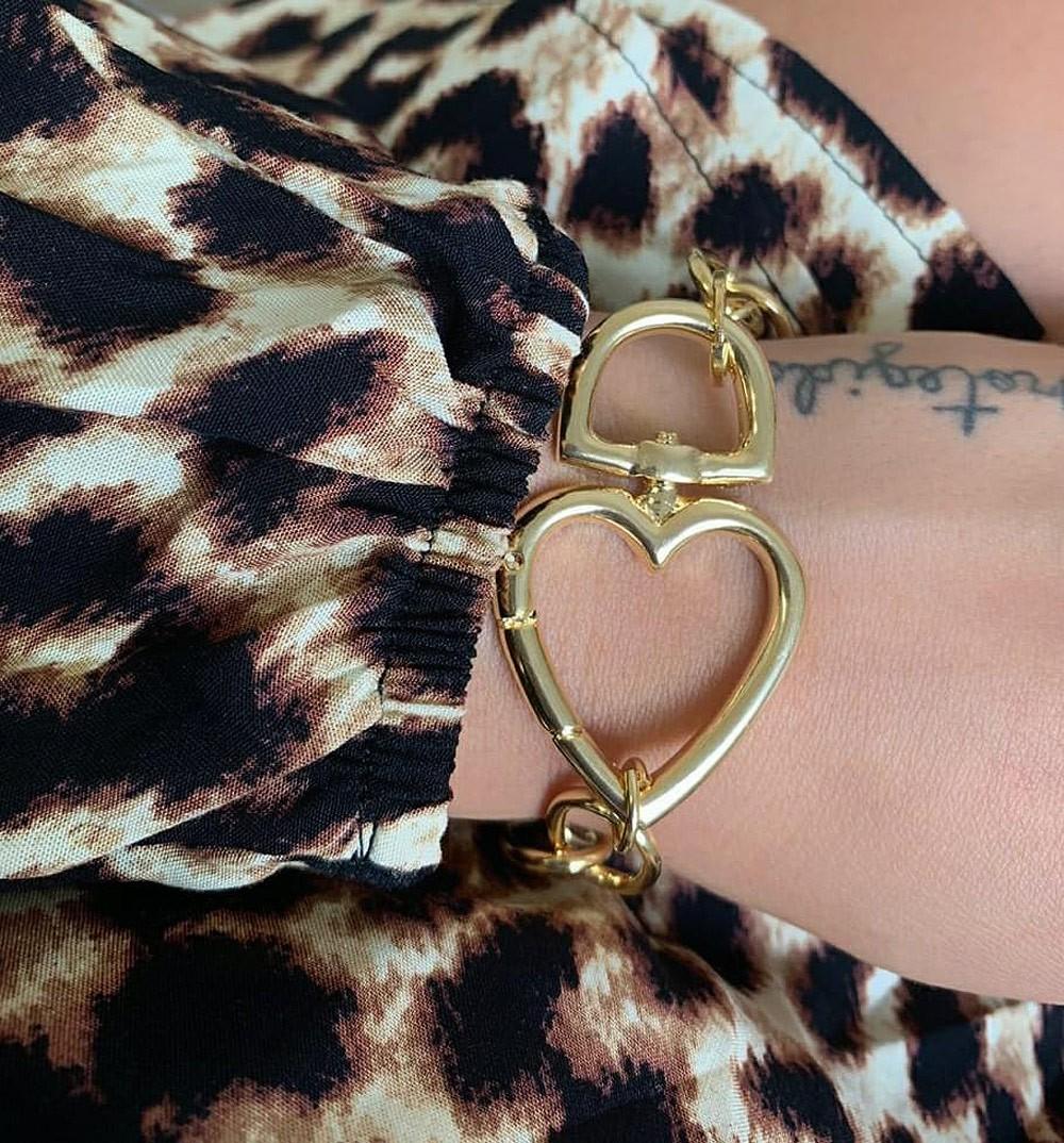 Pulseira Coração Cadeado Folheado A Ouro