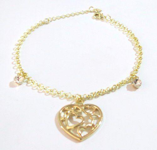 Pulseira Coração Corações Folheada A Ouro 18k - Belíssima!