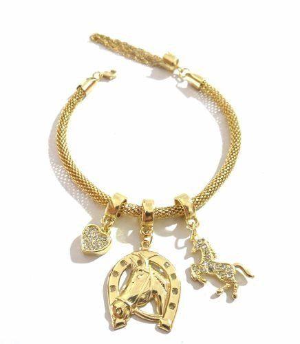 Pulseira Country Cavalo Coração Folheada A Ouro Lindissima
