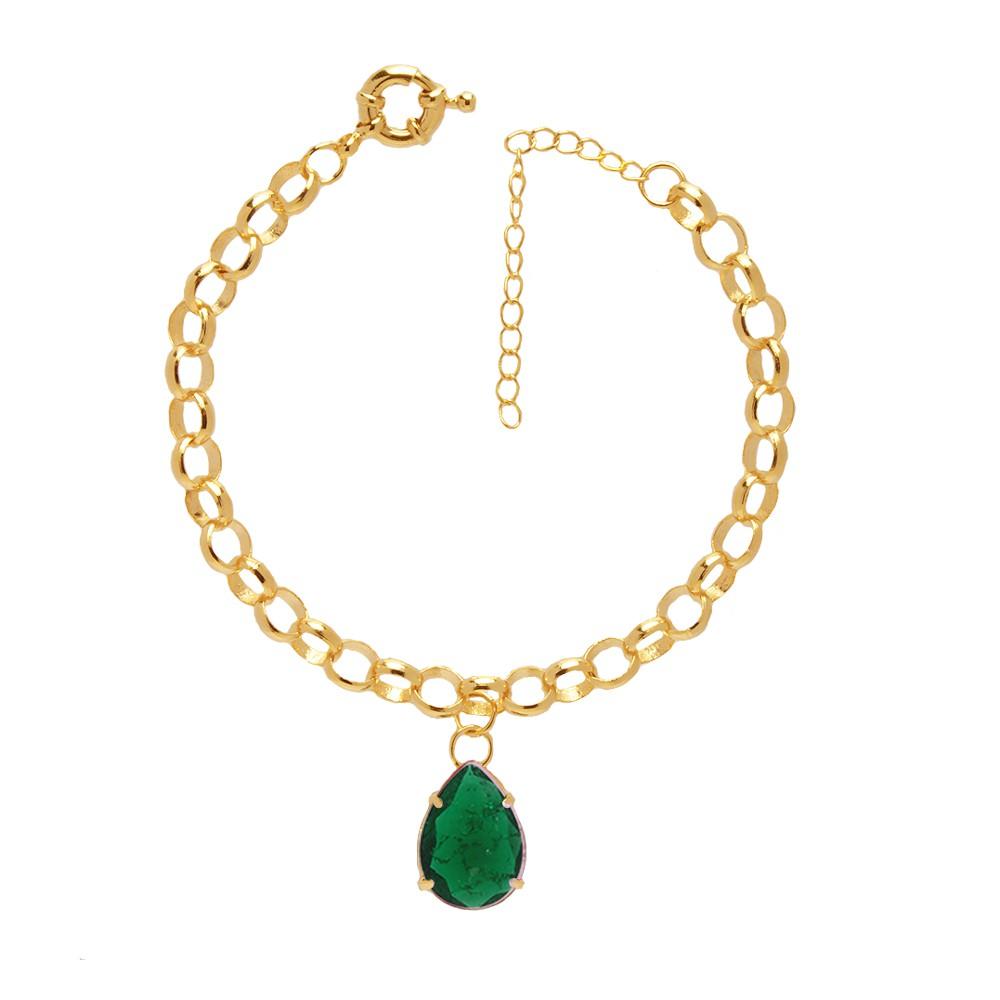 Pulseira Elo Portugues Pedra Fusion Verde Esmeralda Folheado A Ouro