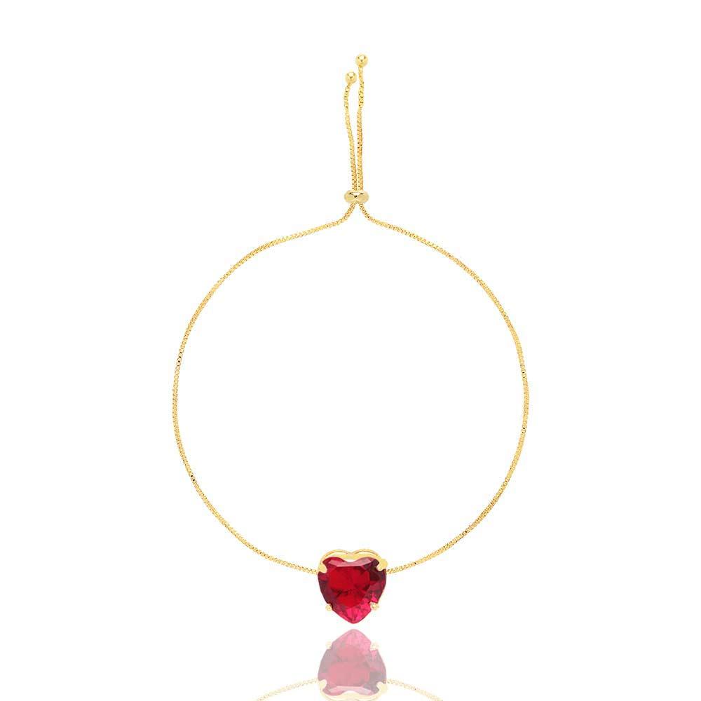 Pulseira Gravatinha Coração Pequeno Pedra Cristal Folheado A Ouro 18K. Escolha Sua Cor!