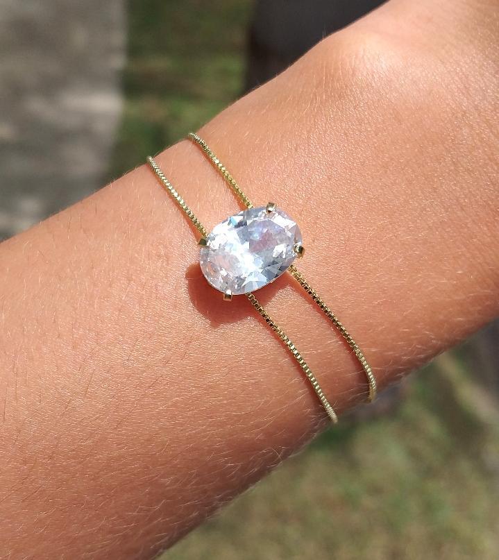 Pulseira Gravatinha Dupla Madrinha Pedra Cristal Folheado A Ouro 18k