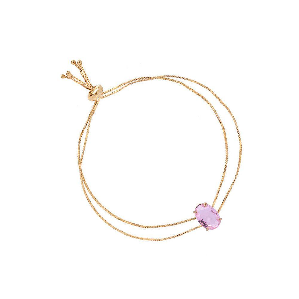 Pulseira Gravatinha Dupla Madrinha Pedra Cristal Rosa Folheado A Ouro 18k