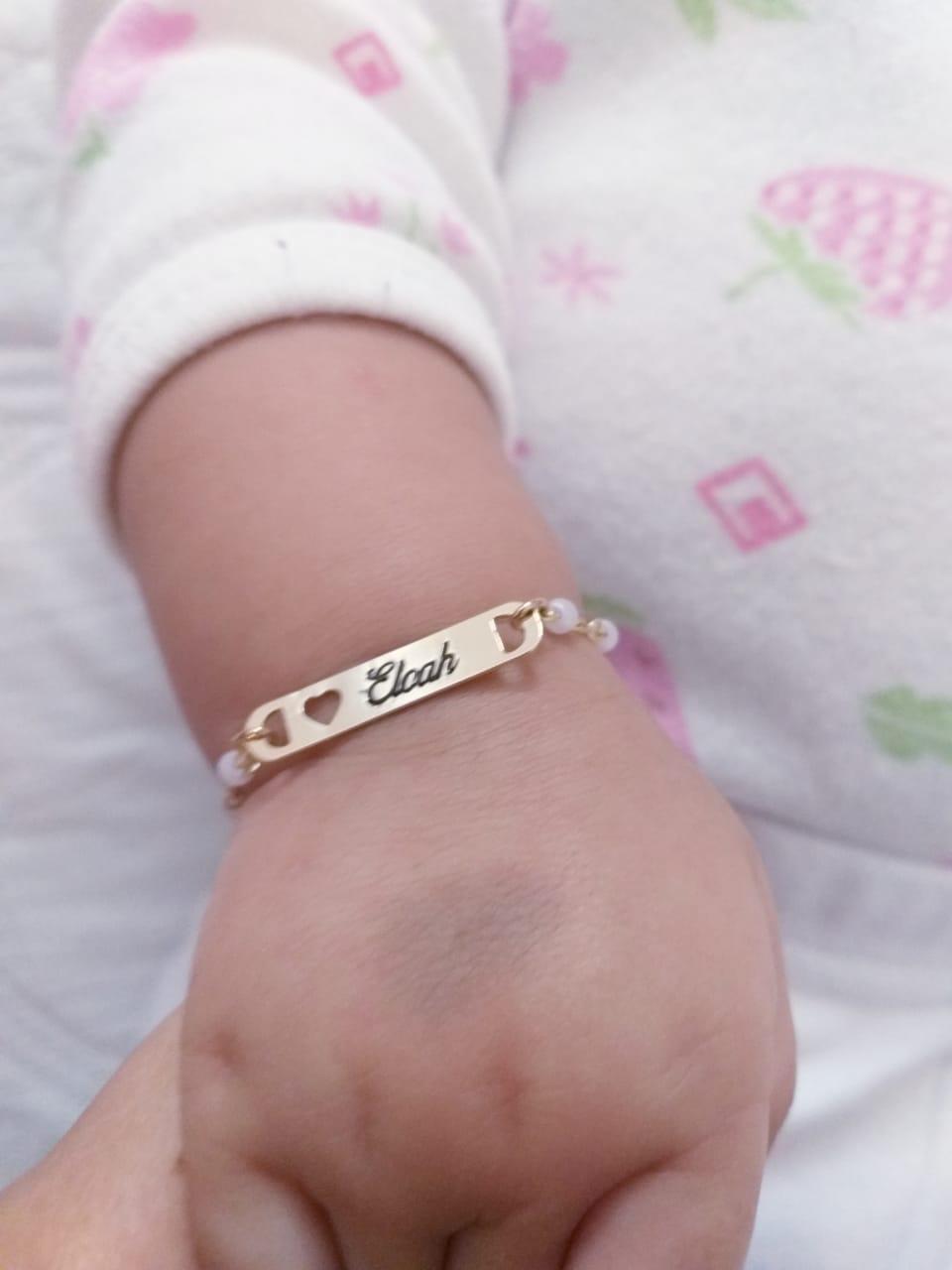 Pulseira Infantil Bebê Personalizado Com Perola Folheado