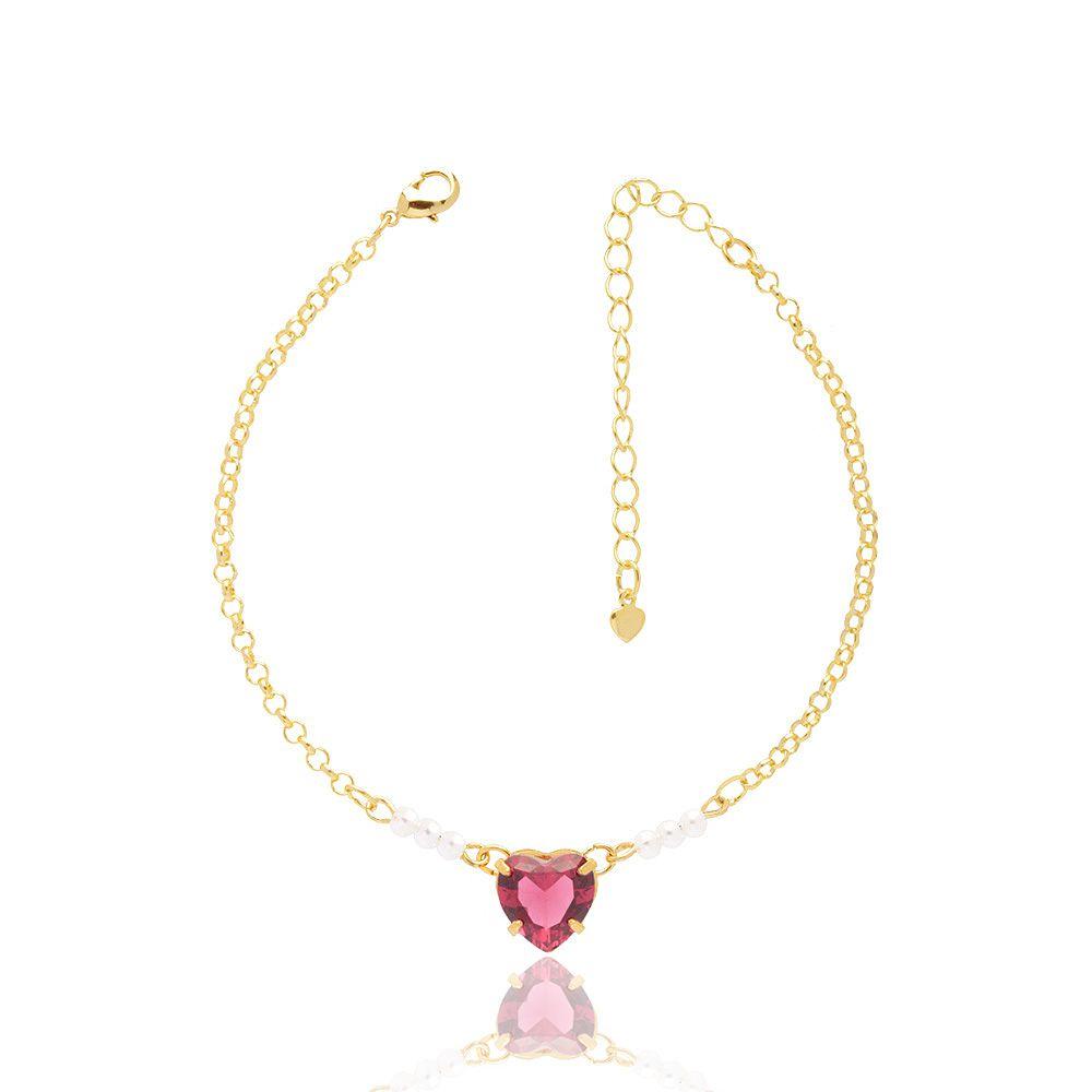 Pulseira Madrinha Com Coração Cristal Pink E Perolas Pequenas Folheado A Ouro 18K