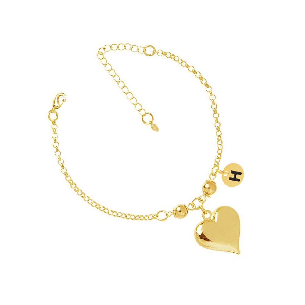 Pulseira Madrinha Coração Com I6R Folheado A Ouro 18K