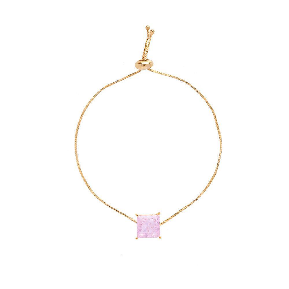 Pulseira Madrinha Gravatinha Pedra Fusion Quadrada Rosa Folheado A Ouro 18k