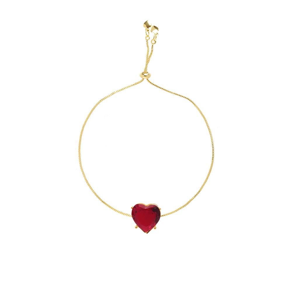 Pulseira Madrinha Pedra Coração Grande Pink Fusion Folheado Ouro