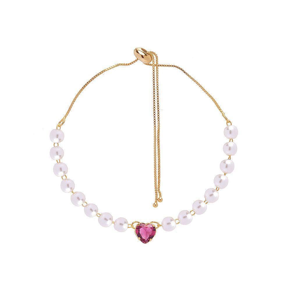 Pulseira Noiva Gravatinha Perola Coração Cristal Pink Folhead A Ouro18k