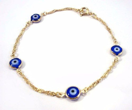 Pulseira Olho Grego Azul 4 Pingentes Folheada A Ouro 18k