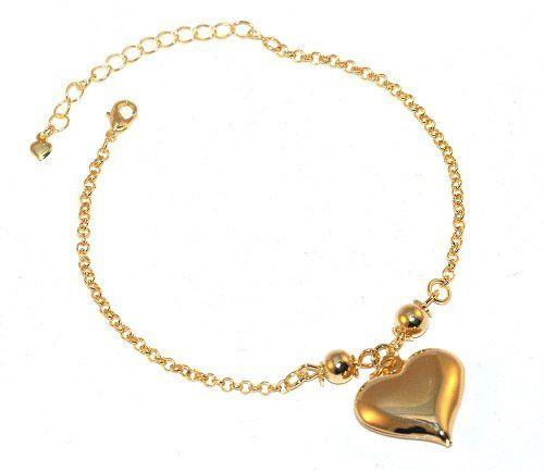 Pulseira Pingente Coração Lembrancinha Folheado A Ouro