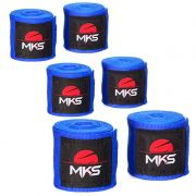 Bandagem Elástica MKS 2,55m - Pack 3 Pares Azuis