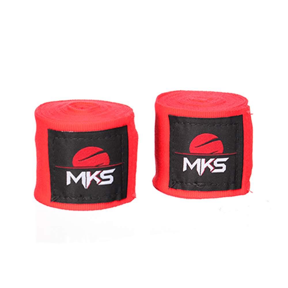 Bandagem Elástica MKS 2,55m - Pack 3 Pares Vermelhas