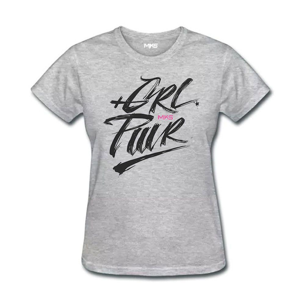 Camiseta Feminina GRL PWR MKS - Cinza Mescla