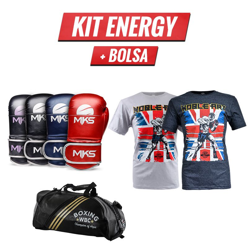 Combo Lutador: Luva Energy + Bolsa Wako + Camiseta
