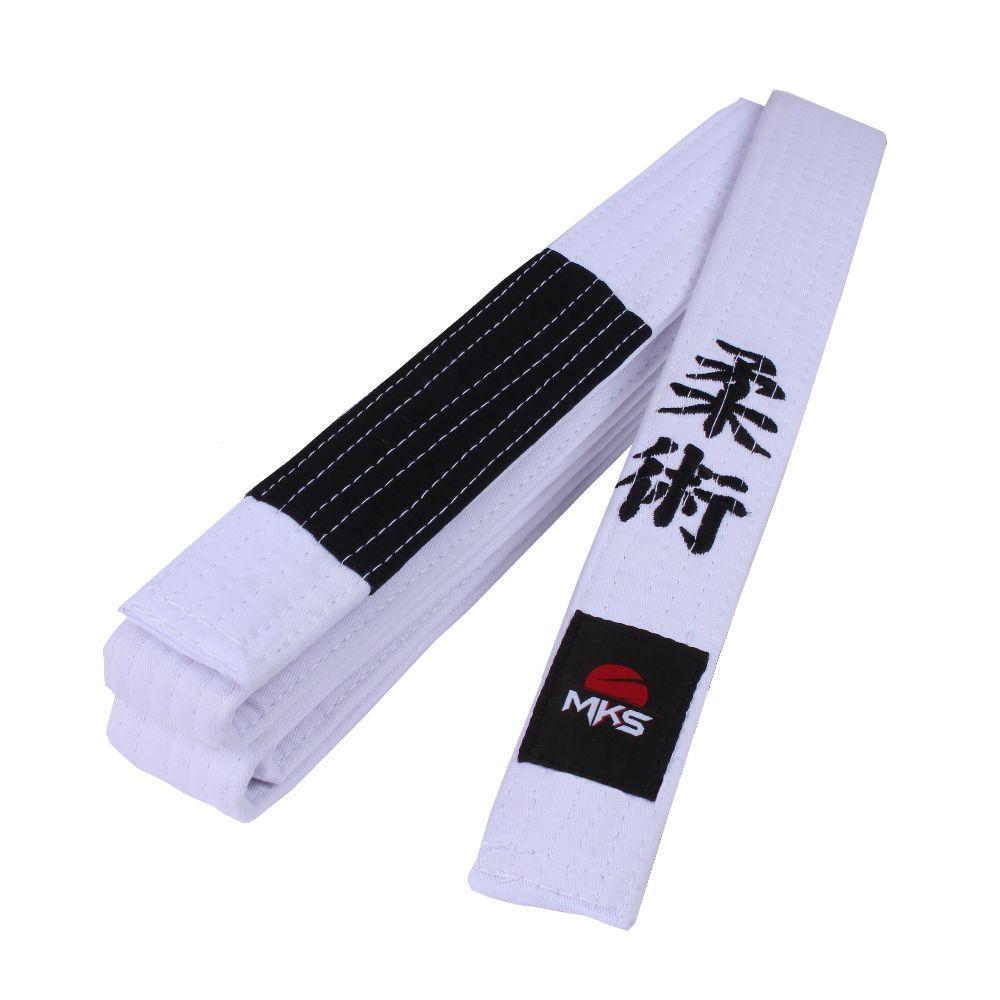 Faixa de Jiu-Jitsu MKS Bordada - Branca com ponta Preta