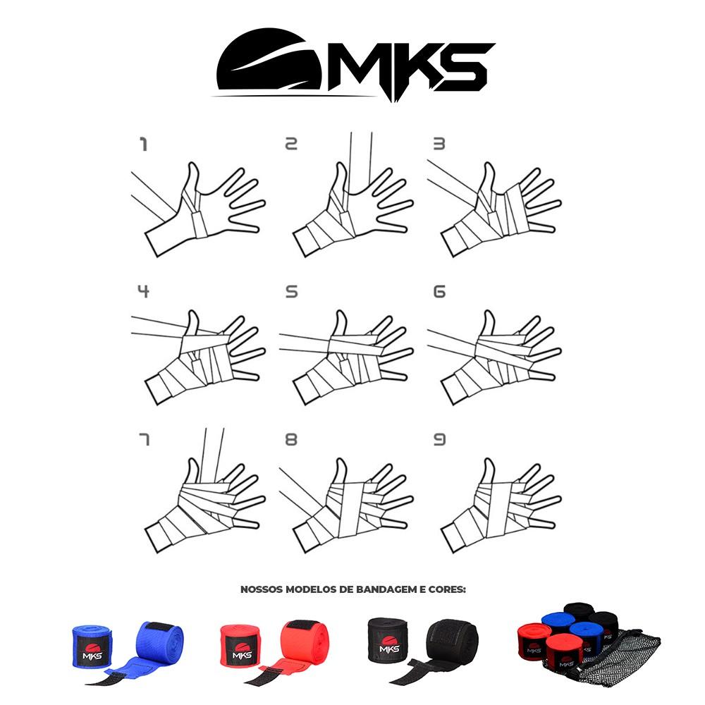Bandagem Fita Protetora Elástica MKS 4,55m - 3 Pares Coloridos + tela lavagem