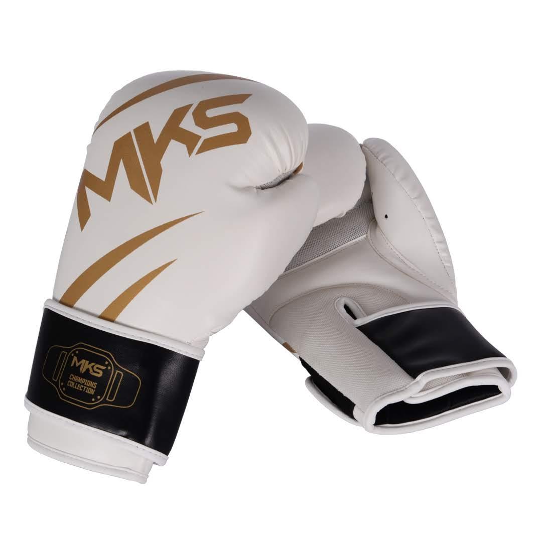Luva de Boxe MKS Champions III Branco/Dourado
