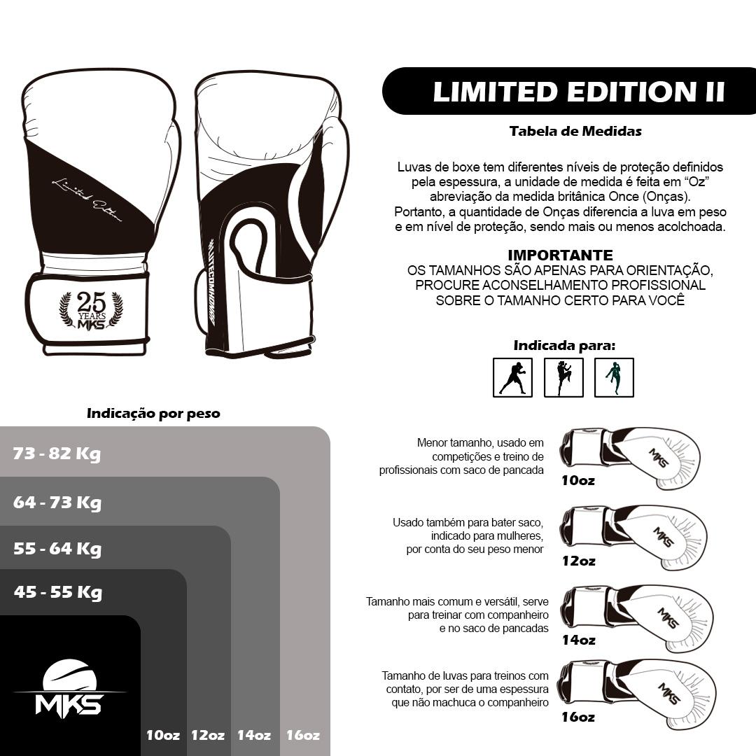 Luva de Boxe Profissional Couro MKS Edição Limitada Black White