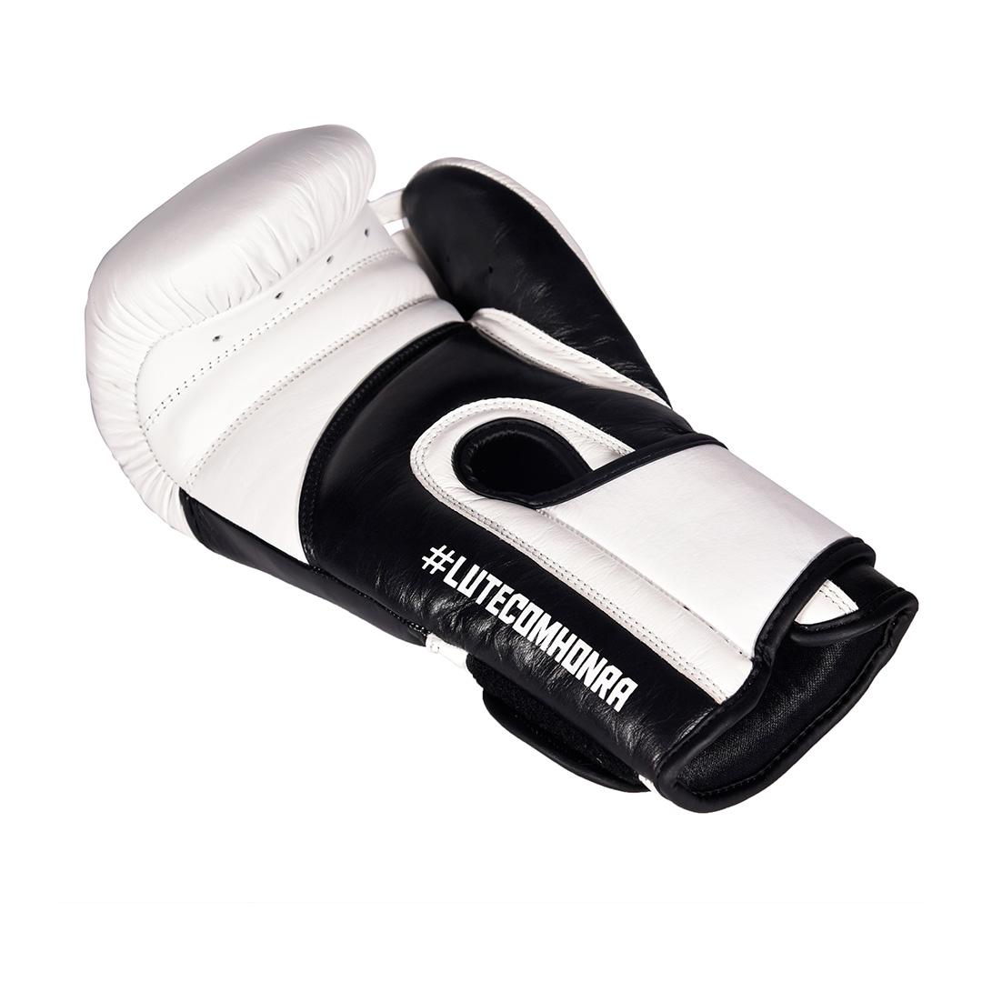 Luva de Boxe Profissional Couro MKS Edição Limitada White Black