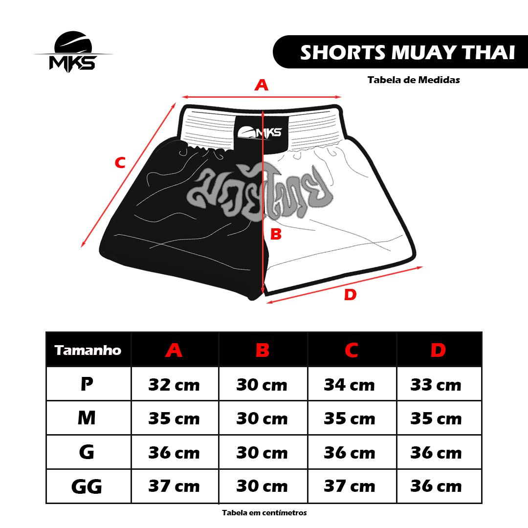 Shorts de Muay Thai MKS - Branco/Preto
