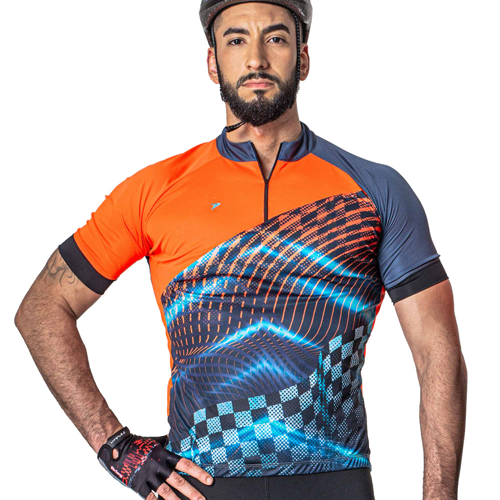 Camisa Ciclista Manga Curta Poker Zíper Racing 04230