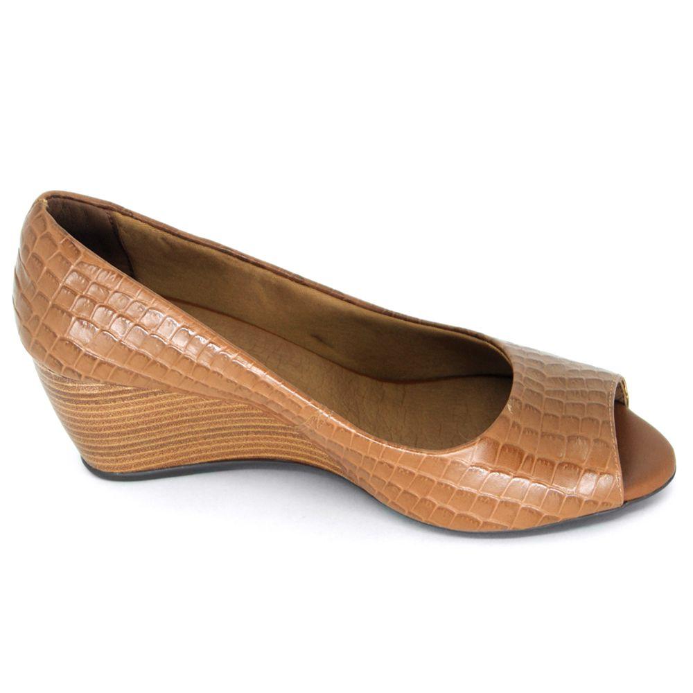 Sapato Peep Toe Anabela Bottero Croco