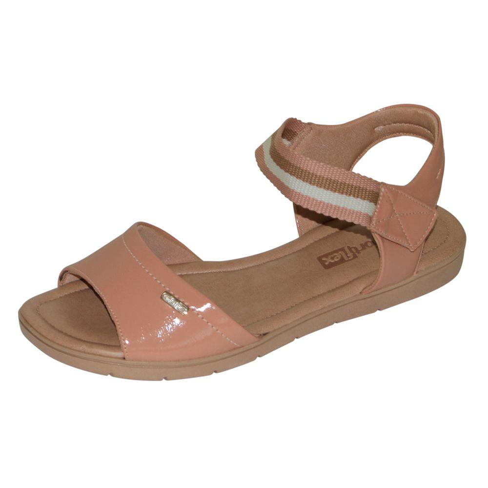 Sandália Comfortflex Salto Baixo Nude Verniz