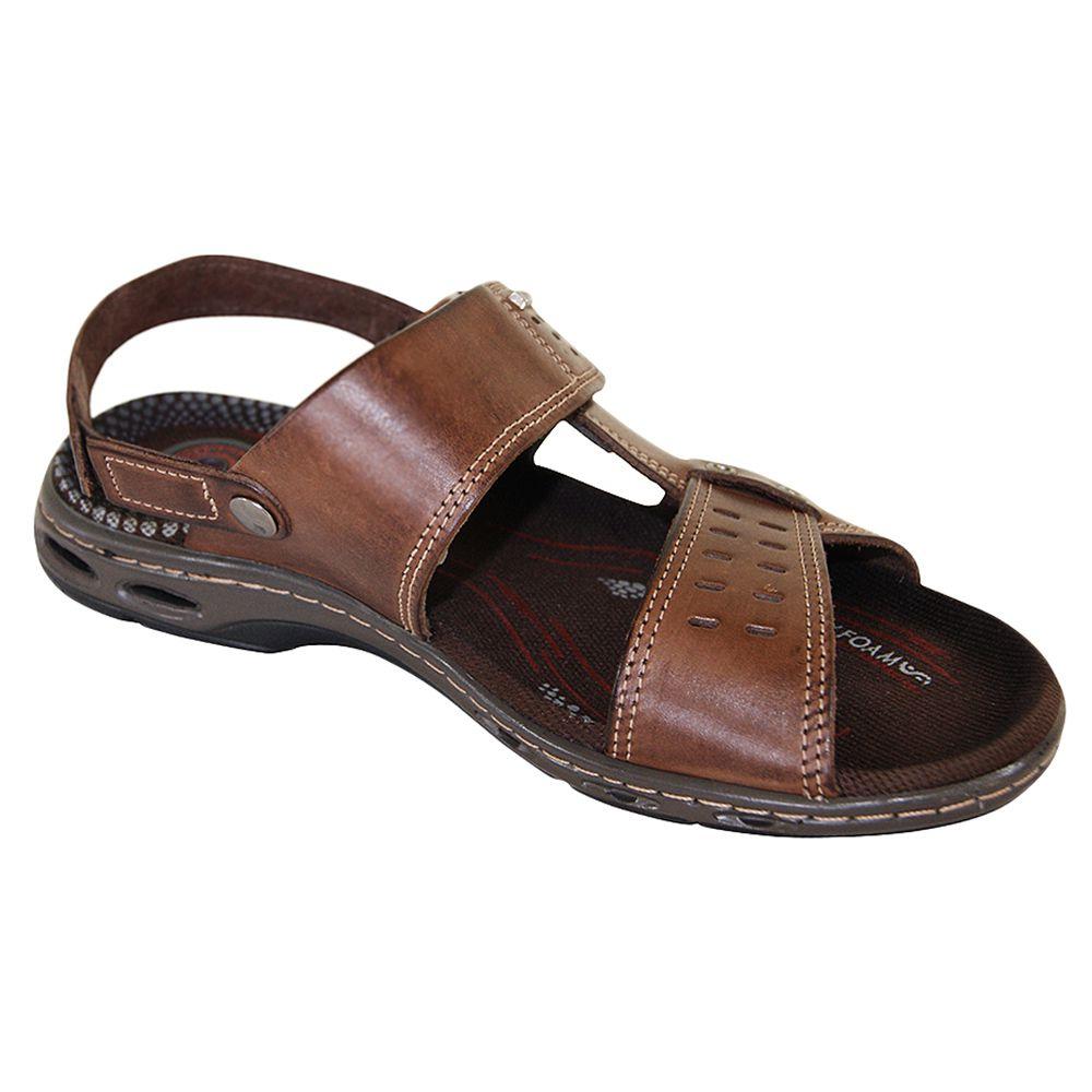 Sandália de Couro Masculina Pegada com Velcro