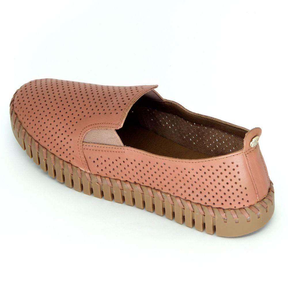 Sapato Bottero Slip Couro Perfuros