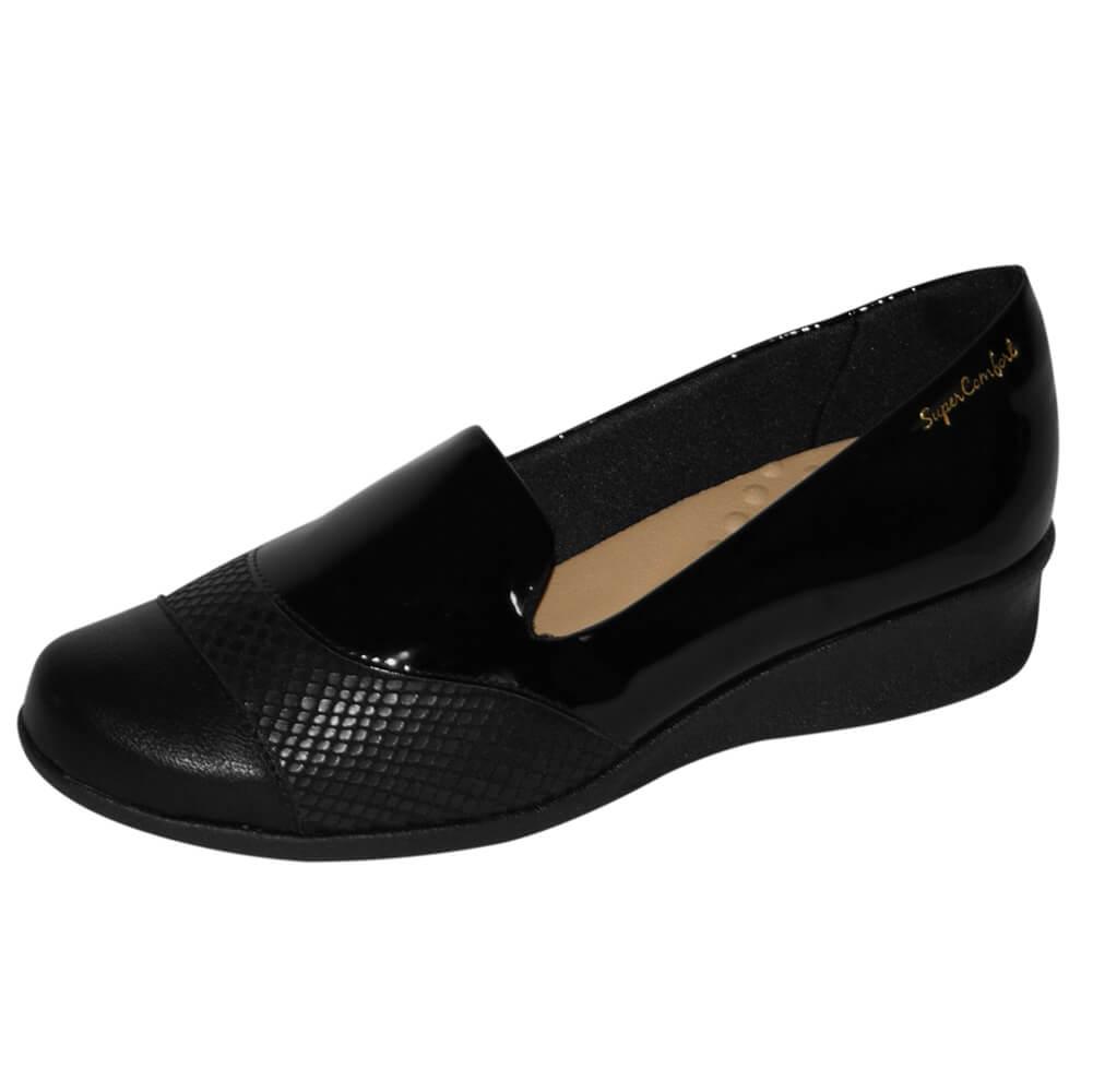 Sapato Malu Super Comfort Eloá Lycra Verniz