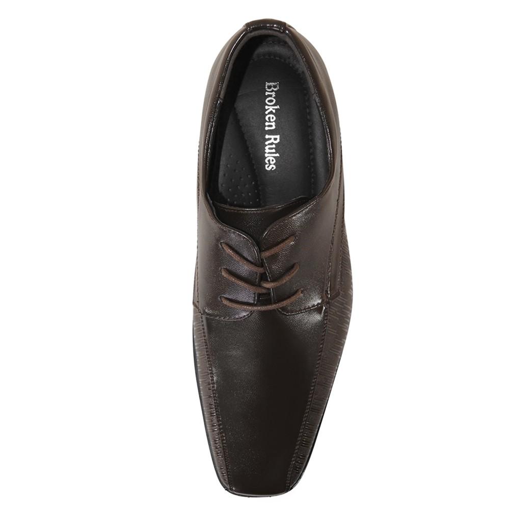 Sapato Social Broken Rules Bico Quadrado Cadarço Textura