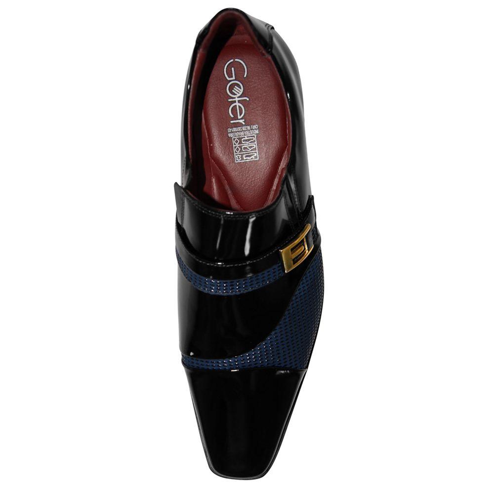 Sapato Social Gofer Couro Verniz Loafer Preto e Azul