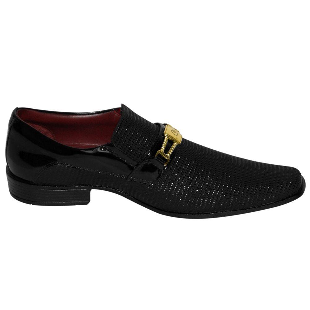 Sapato Social Gofer Couro Verniz Texturizado