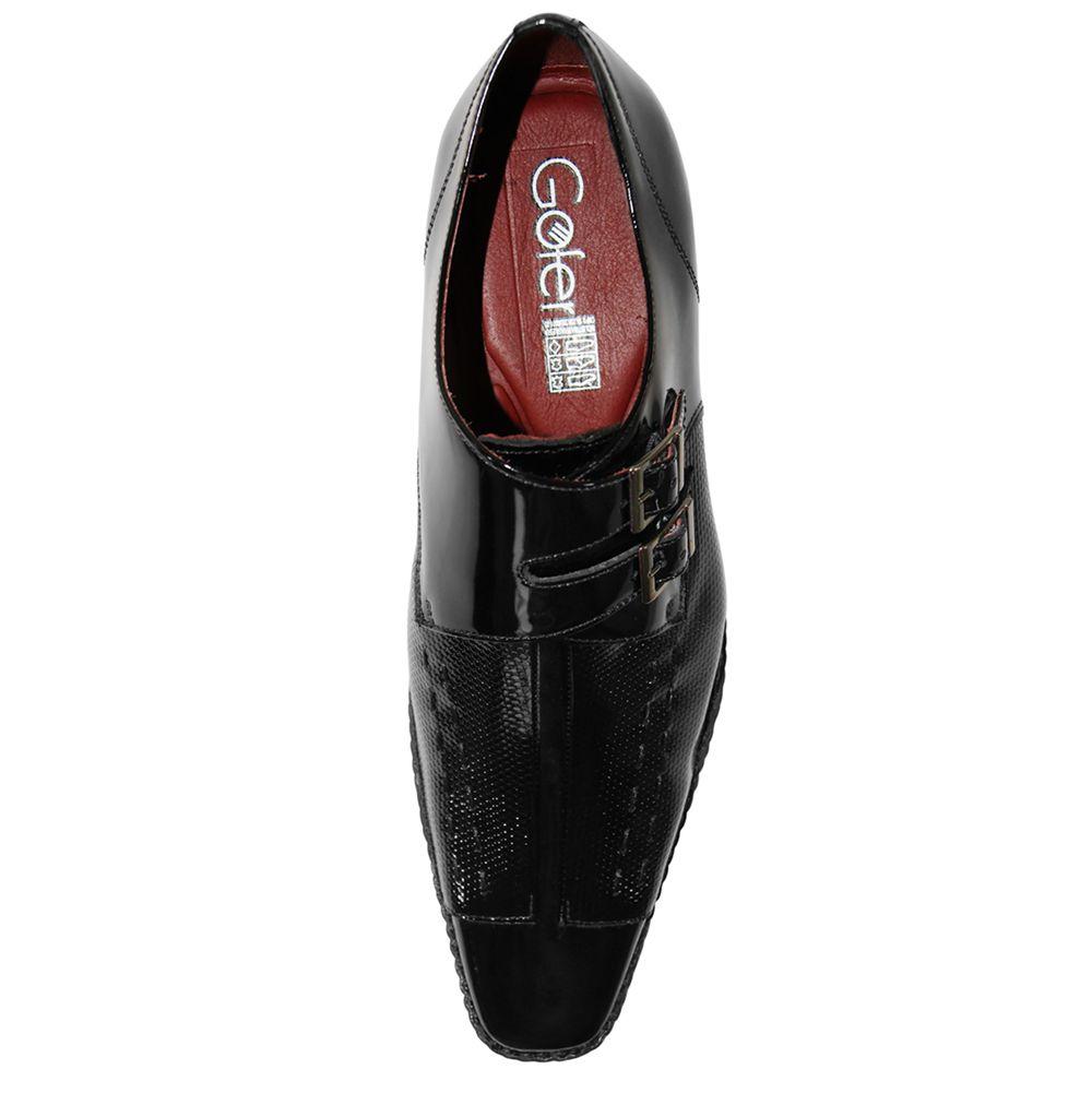 Sapato Social Gofer Couro Verniz Texturizado Fivelas
