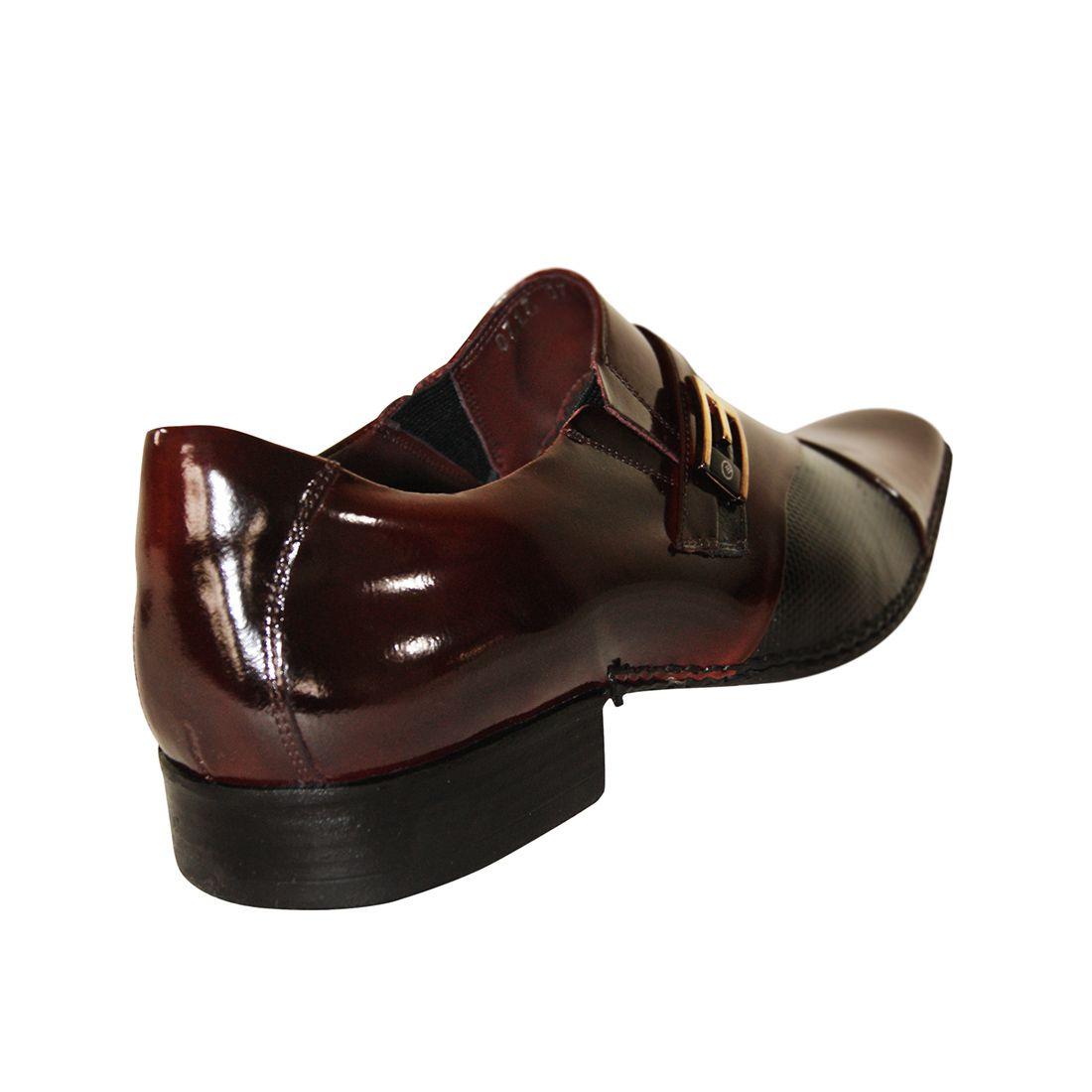 Sapato Social Gofer Couro Verniz Premium Texturizado