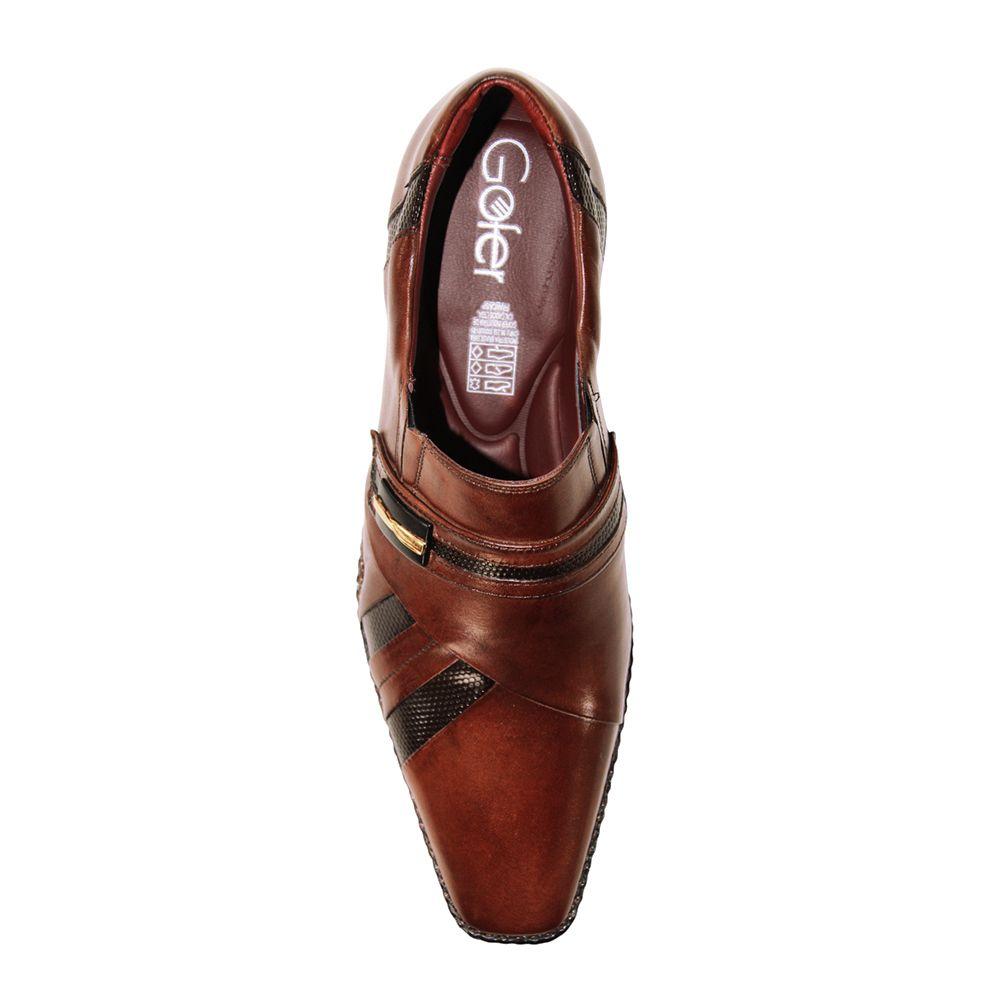 Sapato Social Gofer Couro Verniz Premium Marrom