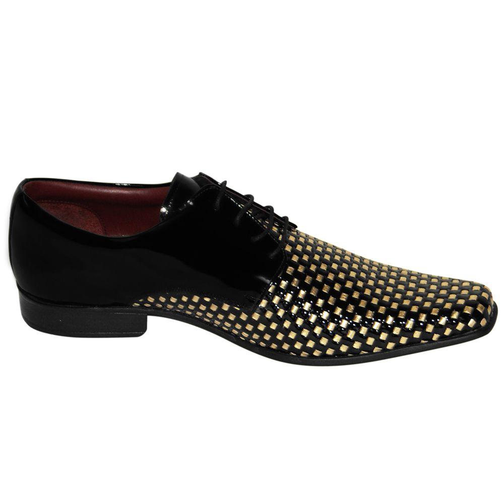 Sapato Social Gofer Couro Verniz Texturizado Dourado