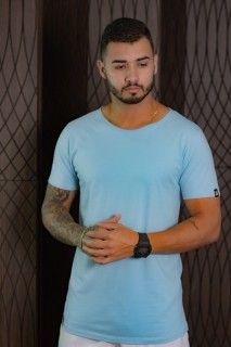 Camiseta Longline Masculina azul bebe basic