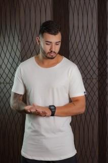 Camiseta Longline Branca Ice Basic Masculina