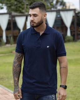 Camiseta Polo Masculina Drown Azul Escuro