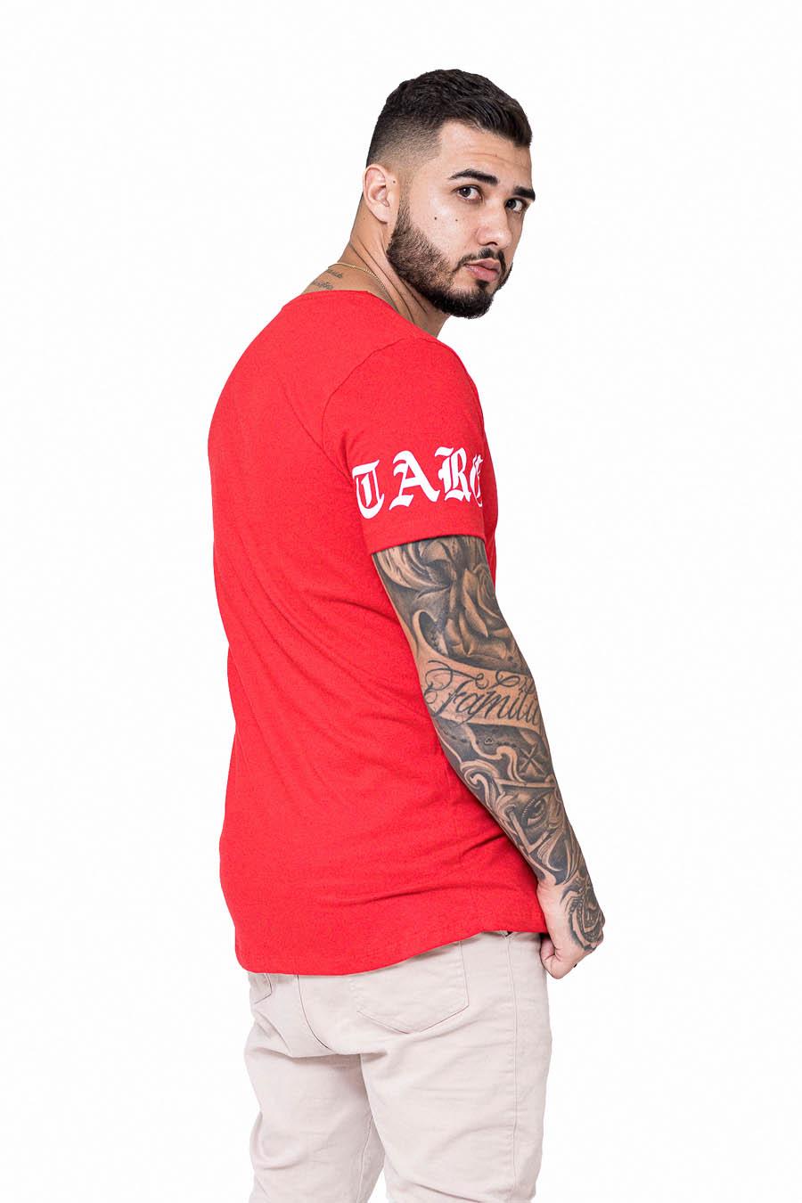 Camiseta Longline Vermelha Compton Font