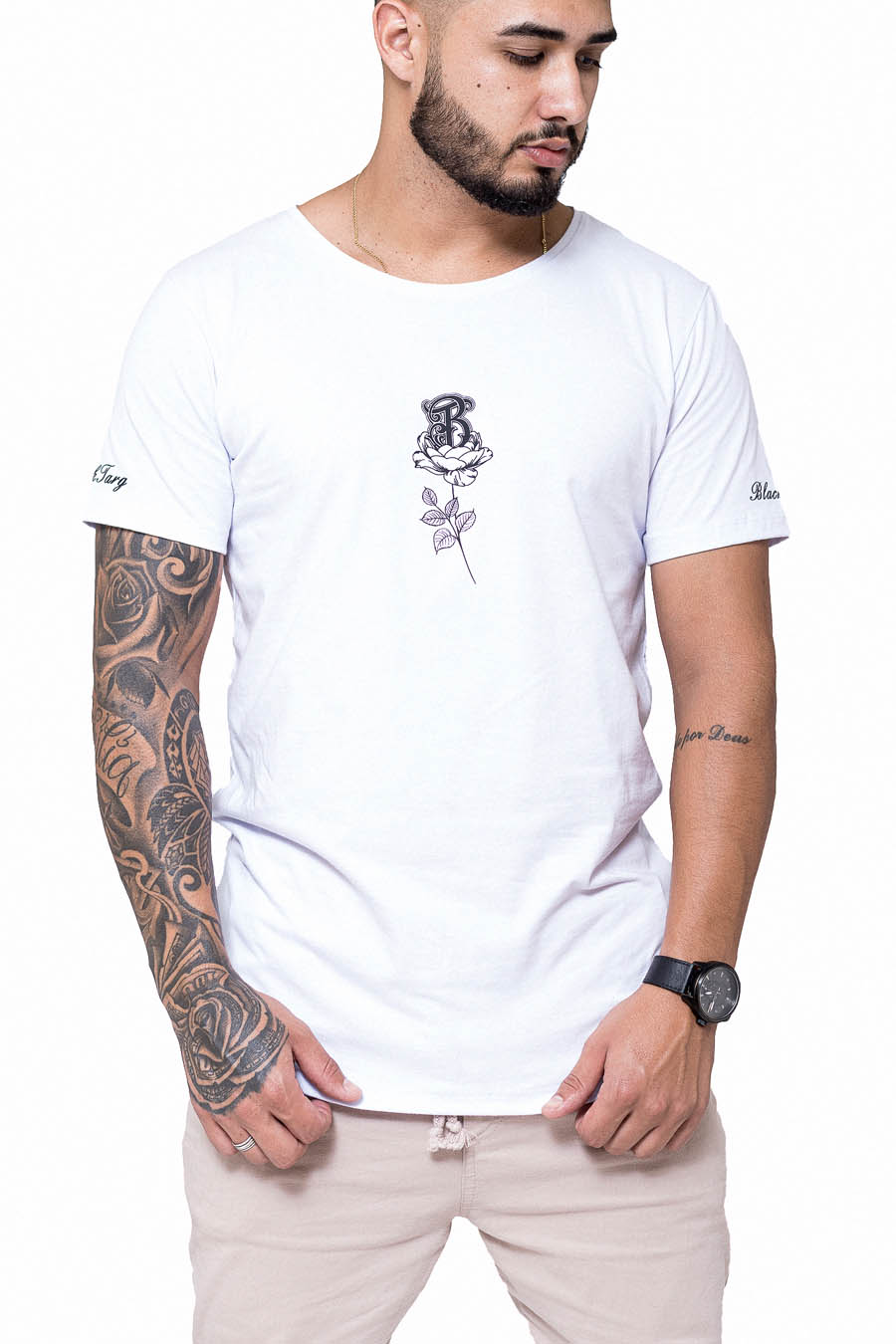 Camiseta Longline Branca Word B Rose