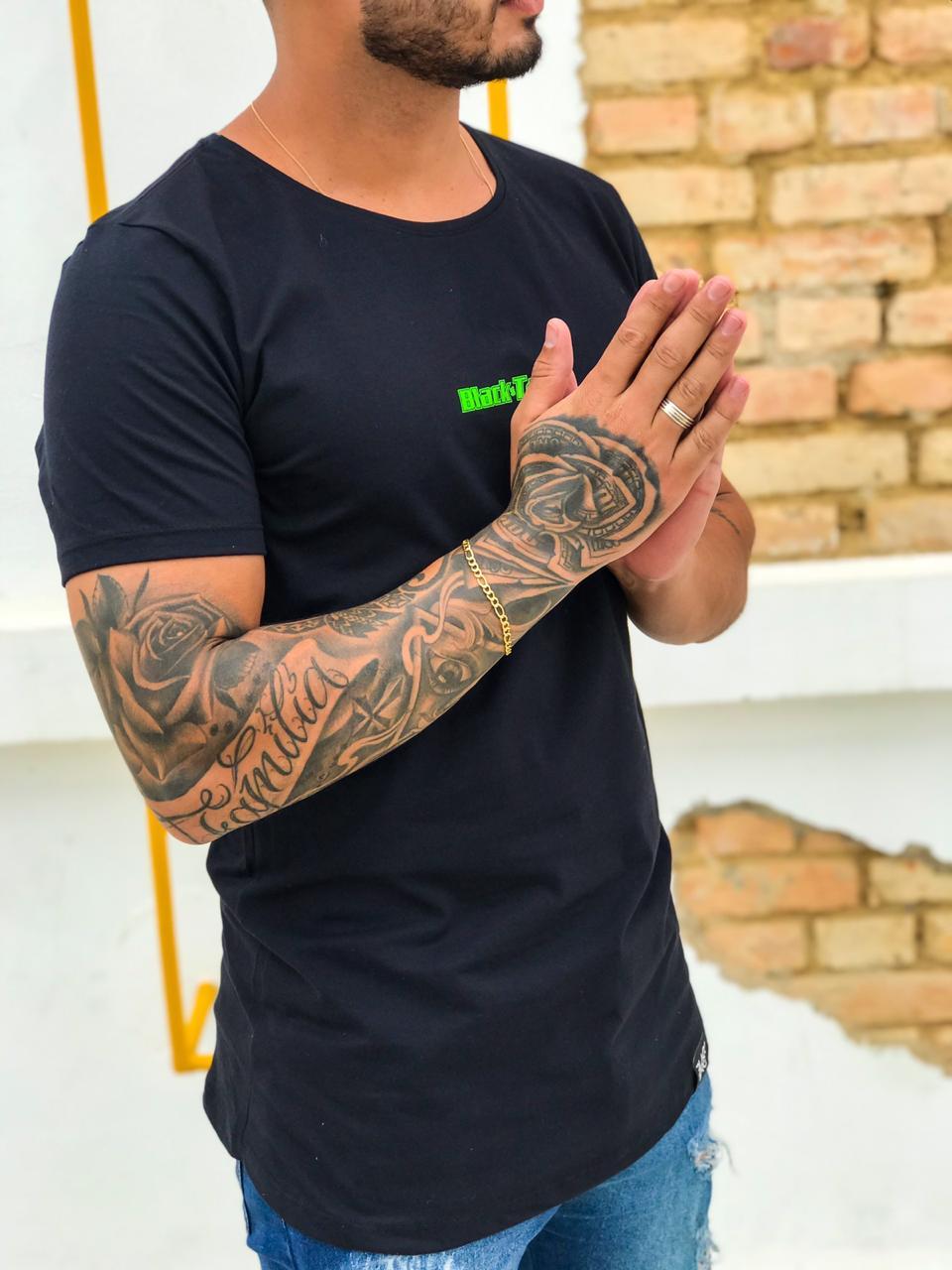 Camiseta Longline Masculina Black Targ Neon