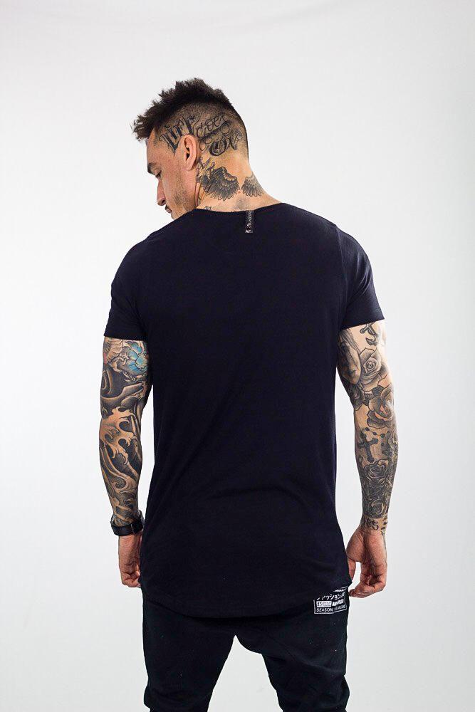 Camiseta Longline Masculina Preta