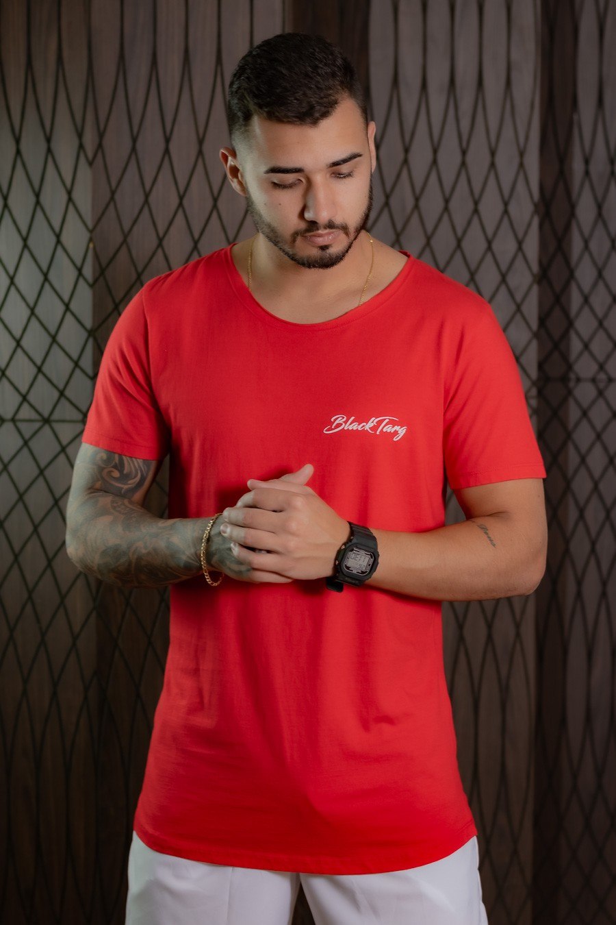 Camiseta Longline Masculina vermelha basic
