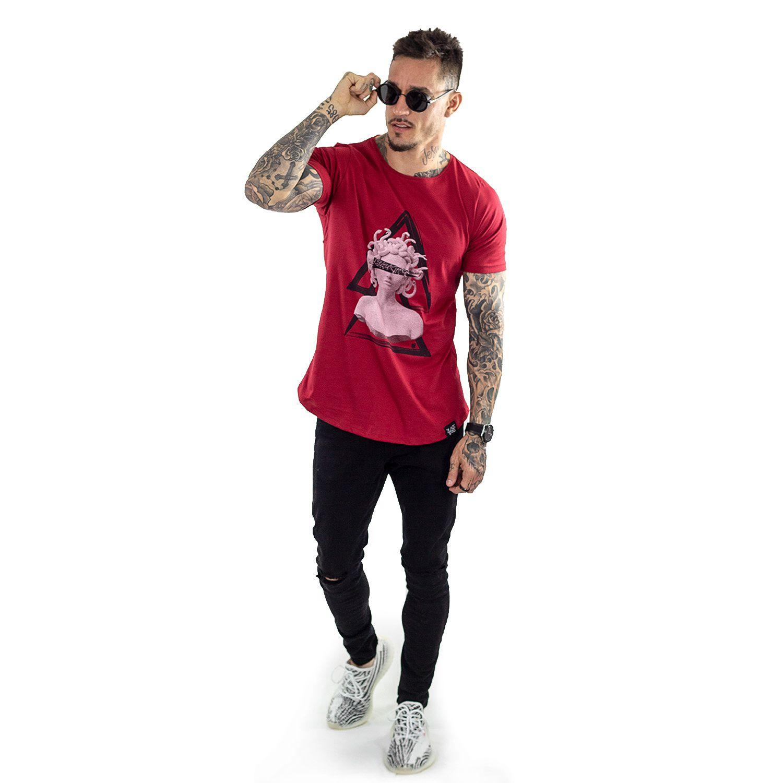 Camiseta Longline Masculina Vermelha Medusa