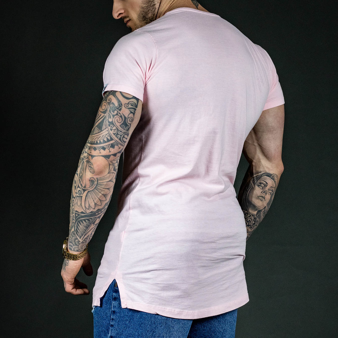 Camiseta Longline Rosa Wish
