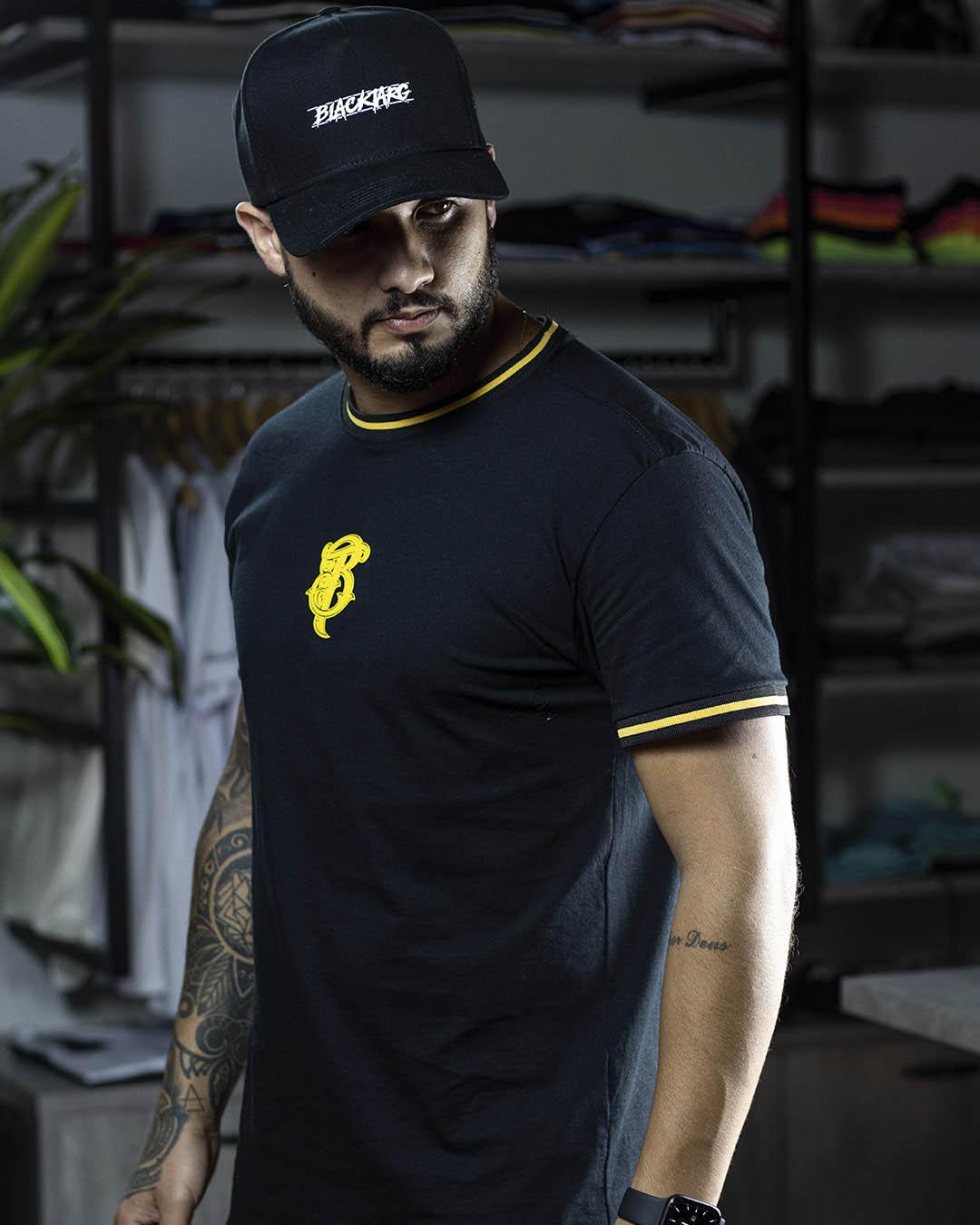 Camiseta Masculina Preta Retilinea Warning