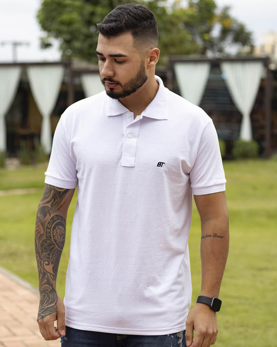 Camiseta Polo Masculina Basic Light Rosa